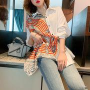 とてもファッション 2020年夏 新作 レトロ シャツ 上着 プリント スカーフ スリム 個性 縫付 ラペル