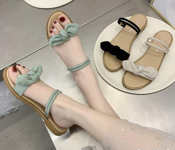 シューズ 靴 サンダル ペタンコ レディース 夏 リボン 可愛い トレンド 人気