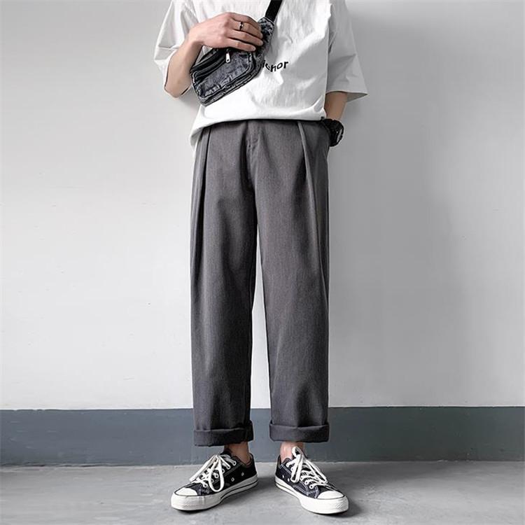 【雑誌で紹介されました】ユース 九分丈パンツ メンズ ストレートパンツ カジュアルパンツ スーツパンツ