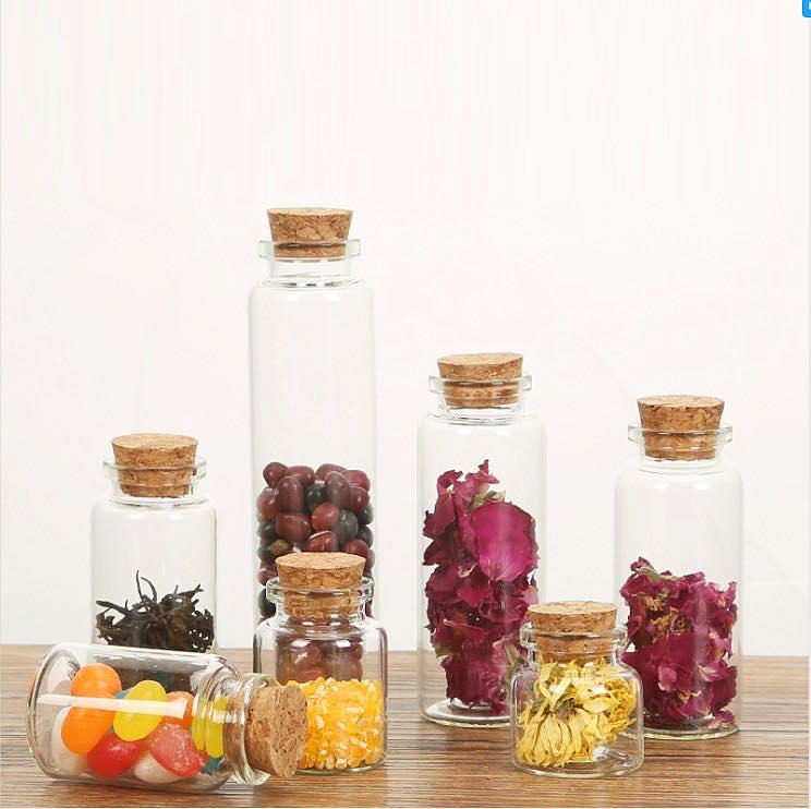 ガラス瓶  コルク瓶 透明瓶 ミニボトル ピース ラインストーン デコパーツ ガラス容器 収納
