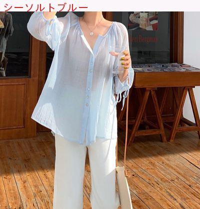 つる 柔らかい 夏 新しいデザイン 韓国風 薄いスタイル ランタンスリーブ 日焼け止めシ