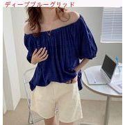 つる 柔らかい 夏 新しいデザイン 韓国風 単一色 何でも似合う ワンショルダーシャツ