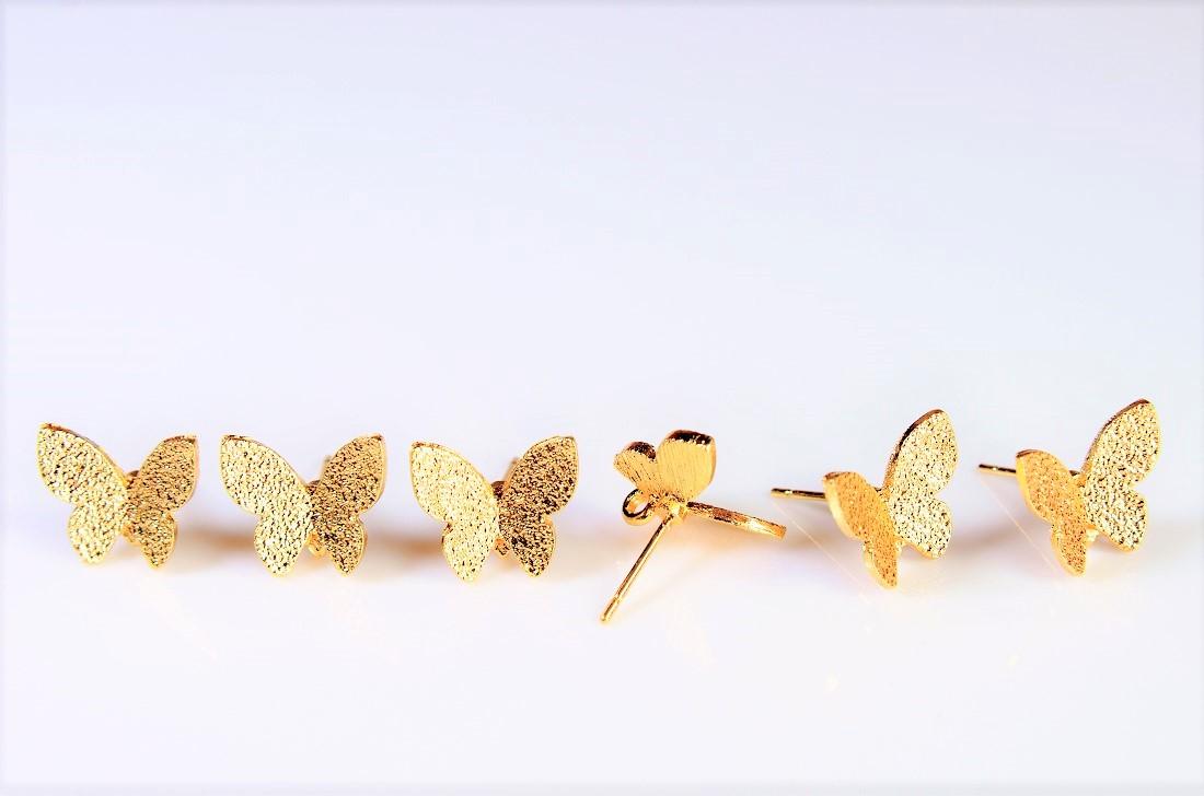 【高品質銅製品】ピアス金具/基礎金具/蝶々ピアス金具/蝶々モチーフ(裏にマルカン付き)