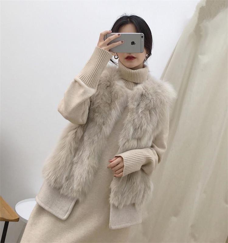 縫付 ギャザリング スリム ラウンドネック コート 袖なし 快適である ベスト キツネ ファー タンクトップ