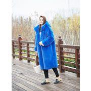 しいスタイル コート 模造ミンクの毛皮 ロングセクション フード付き 緩い 厚手 人工毛皮 模造毛皮 コート