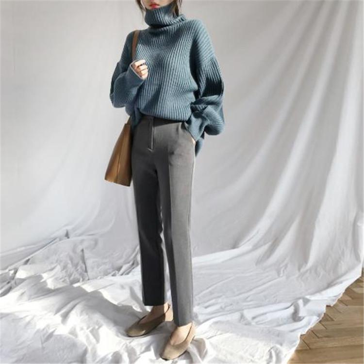ゆったり カジュアル 長袖 セーター トップス オシャレ デザインセンス 韓国風 タートルネック