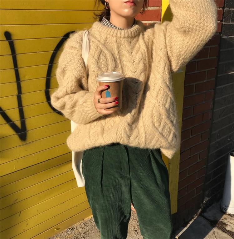 大好きな着こなし 早い者勝ち 麻の花 セーター sweet系 ラウンドネック 秋 ギャザリング セーター ニット