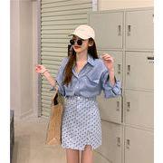 新作 長袖 ゆったり ワイシャツ+スカート2点セット ハイウエスト チドリ柄 韓国スタイル レディース