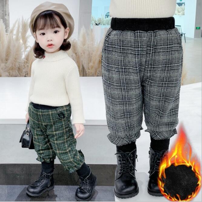 2020秋冬 子供 女の子  レジャーグリッド パンツ ファッション ズボン
