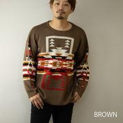 【2020新作】 セーター メンズ ネイティブ柄 ニット クルーネック ビッグシルエット ニットセーター