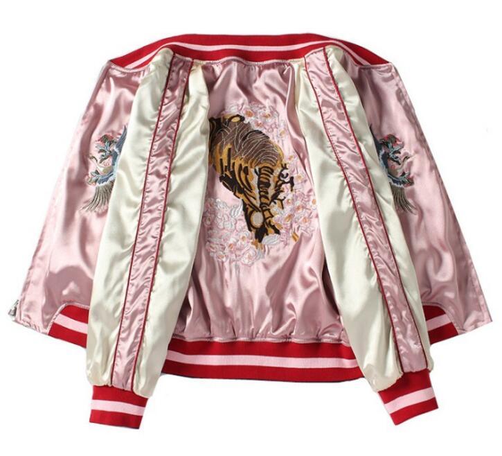 和柄刺繍スカジャン レディース 両面刺繍 両面着 虎 富士山 ジャケット
