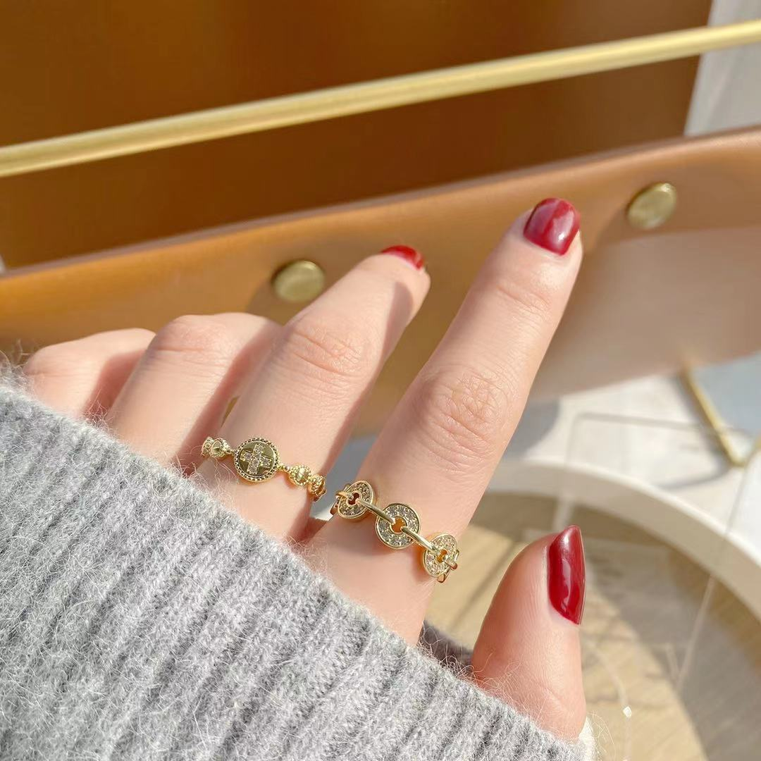 即納  国内検品発送  高品質  フリーサイズ  リング 指輪 開口指輪 ゴールドメッキ ジルコニア 真鍮