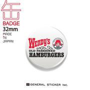 ウェンディーズ 缶バッジ 32mm WHITE ウェンディーちゃん WENDY'S ライセンス商品 WEN025 2020新作