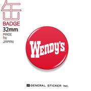 ウェンディーズ 缶バッジ 32mm RED WENDY'S ライセンス商品 WEN026 2020新作