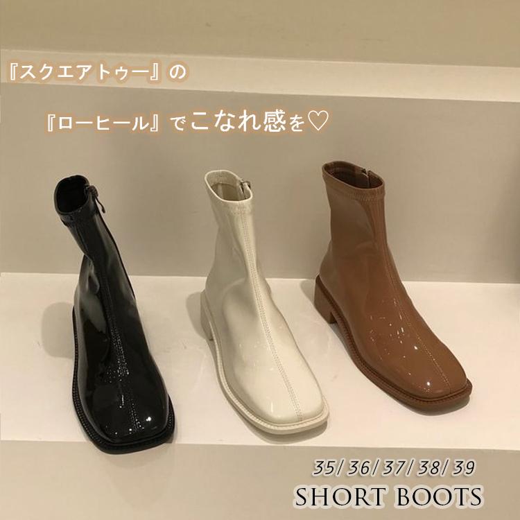 2020秋冬新作 レディース 靴 ブーツ スクエアトゥ ショート boots フラット サイドファスナー エナメルPU
