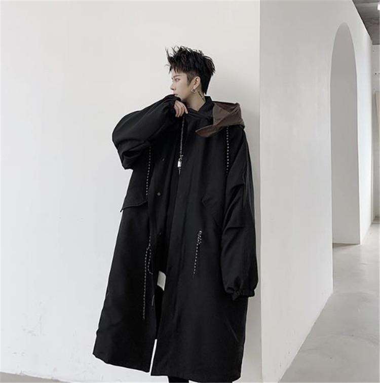 高品質新入庫!韓国ファッション フード付き 中・長セクション 個性 百掛け ゆったりする コート ジッパー
