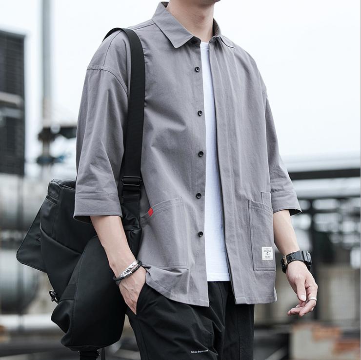 春夏 オーバーオール ワイシャツ 七分袖 韓国スタイル ゆったり シャツ アウター トップス メンズ