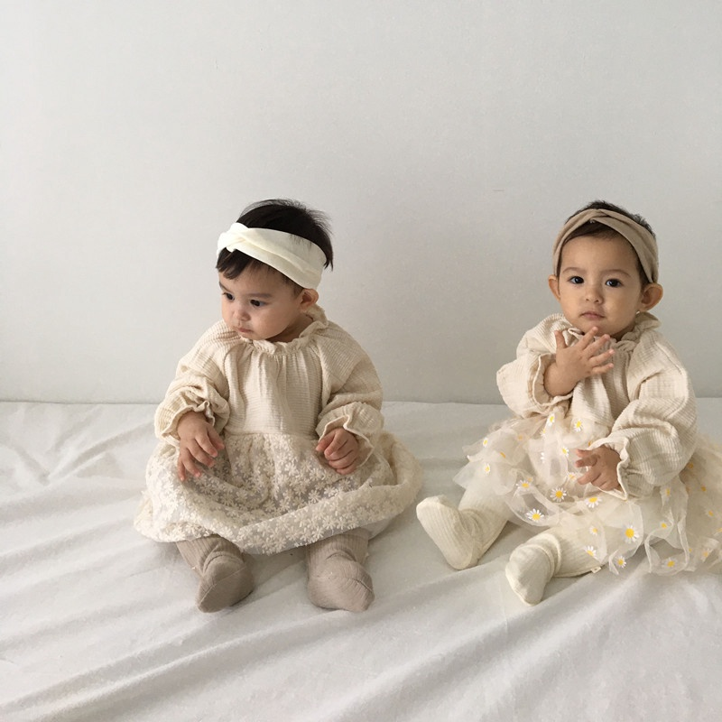 【BABY】ひらりフラワーレース ワンピース ロンパースドレス  全2色