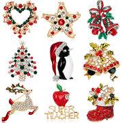 Christmas限定 ピンブローチ ブローチ アクセサリー クリスマス用品 ラインストーン オシャレ