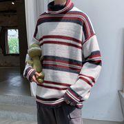 トップス ニット セーター ハイネック ボーダー ゆったり 長袖 メンズ 韓国ファッション 秋冬
