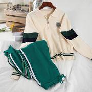 学生 韓国風 ファッション セット 襟 色のセーターを綴ります ズボン 息子 レジャー