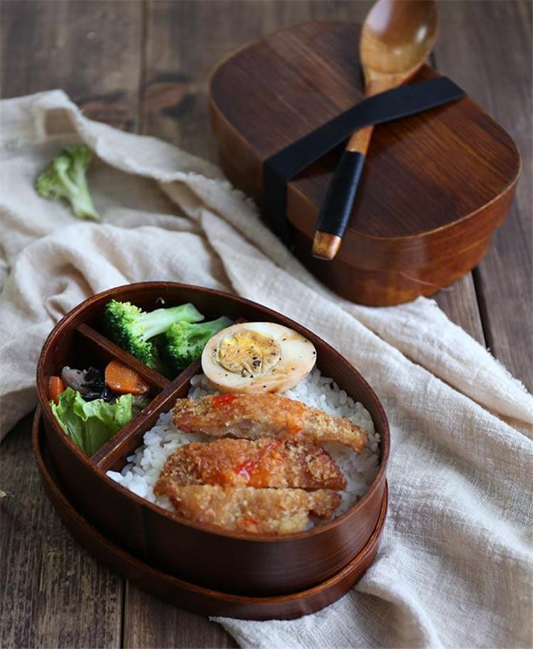 トレンド感をマーク!ランチボックス 単層 二層 弁当箱 簡約 オシャレ 寿司 昼食箱 木 食器
