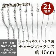 サージカルステンレス製 ネックレスチェーン 金具付【約45cm シルバー】No.17~30のページ