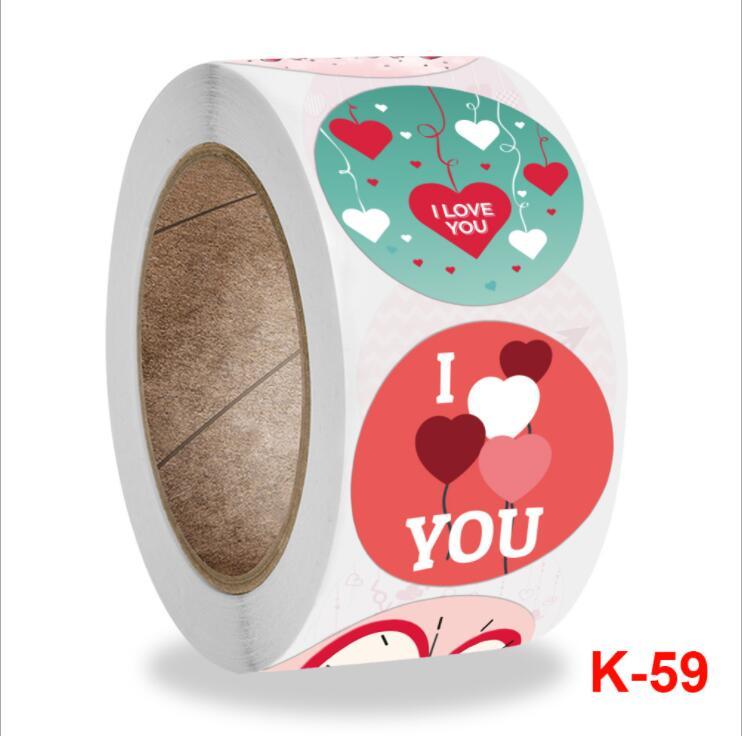 500個 円形ラベルシール 円形 張り紙   LOVEラベルロール