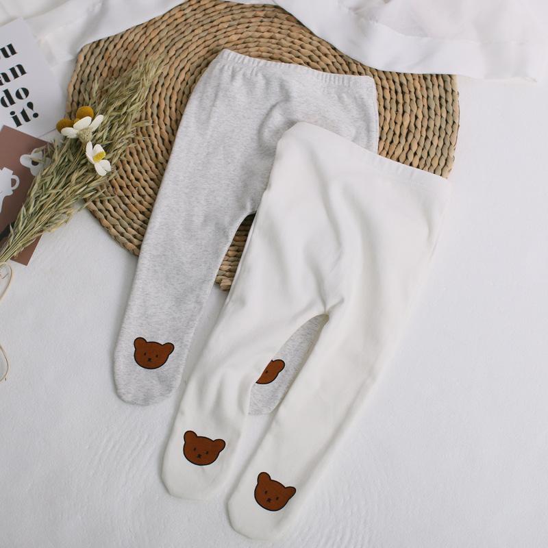 【BABY】 キュートなクマさんプリントタイツ 秋冬服   全2色