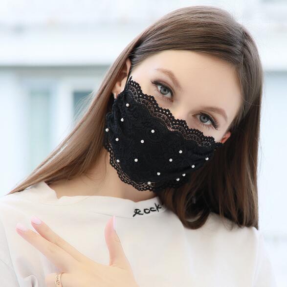 マスク レース パール 洗える オシャレ レディースファッション 花粉症対策