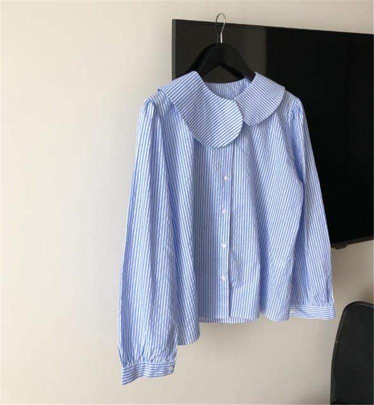長袖 人形の襟 シャツ シンプル トップス 大人気 ストライプ ゆったりする カジュアル