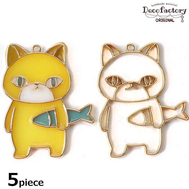 5個〜【レジン枠】ネコとお魚 レジン枠【DecoFactoryオリジナル】