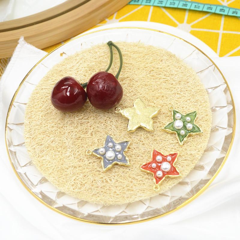 ハンドメイド 星 ネックレス ビーズ アクセサリーパーツ チャーム 資材 材料 フェイクパール 金色