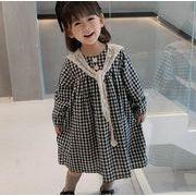 2021春夏 子供 チェックワンピース+付け襟 女の子 ファッション カジュアル 長袖