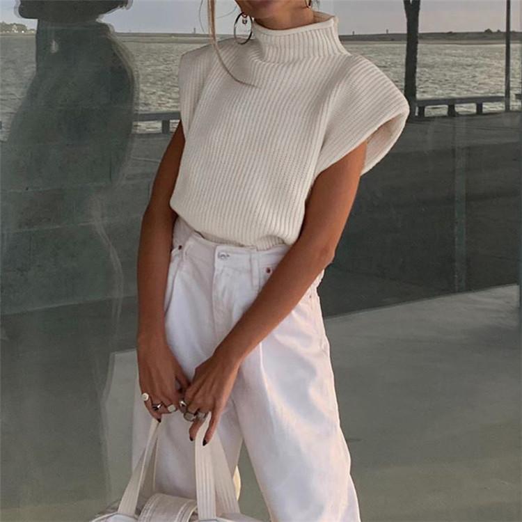 韓国ファッション 2021 新品 百掛け 気質 袖なし タートルネック セーター スリム ゆったりする
