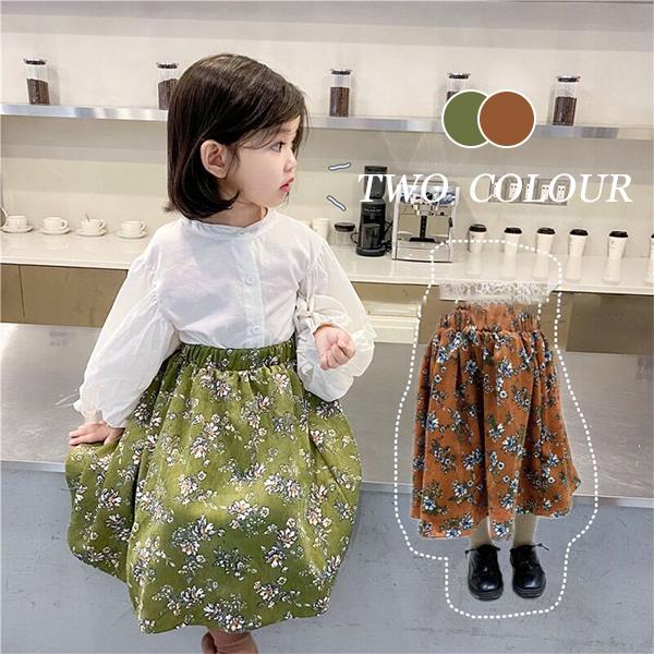 【KID】2021年韓国春新作春気分花柄ロングスカート 全2色