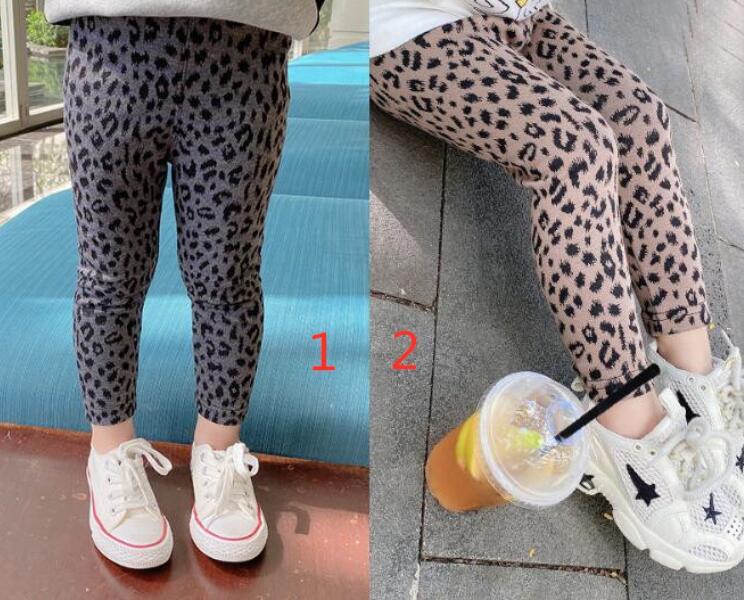 2021春新作 子供ズボン レギンス 韓国子供服 ヒョウ柄 キッズ パンツ 女の子 2色80-130