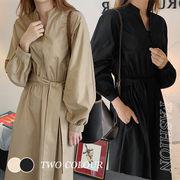 【Women】2021年新作 毎日使いたい Vネック長袖ワンピース ロングセクション 無地 シンプル 韓国服