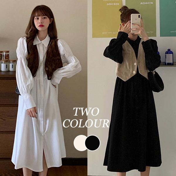 【Women】2021年新作 ロング丈ワンピース&ベスト INS風 韓国ファッション
