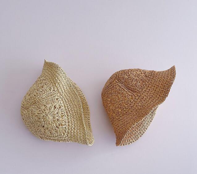 新品★新しいスタイル★★キッズ 可愛いハット 草編み帽子★2色