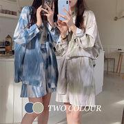 【Women】レディーストップス 長袖シャツ カーディガンorパンツ 韓国ファッション マーブル柄