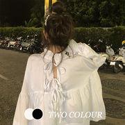 【Women】2021年新作 リボン付き長袖シャツ フリル 体型カバー 韓国ファッション 前後両面着れ