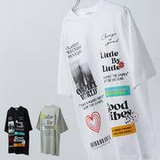 【2021春夏新作】ユニセックス デコレーション プリント BIG 半袖 Tシャツ