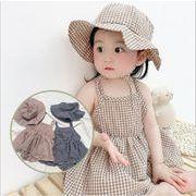 人気 2021年 夏 新作 韓版 子供服 格子 スカート 袖なし ワンピース 2点セット