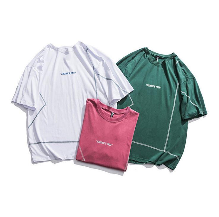 夏 新作 Tシャツ ラウンドネック 半袖 上着 ゆったり 韓国ファッション メンズ ロングTシャツ