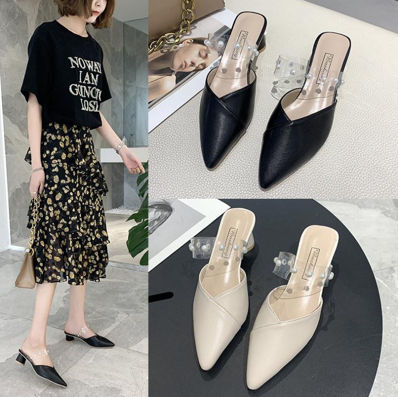 パンプス 太ヒール 透明 ポインテッドトゥ サンダル 韓国スタイル シューズ 靴 人気 レディース