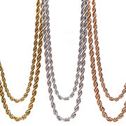 ハワイアンジュエリー 2連 2重 ロープ ネックレス チェーン スクリュー ステンレス インスタ
