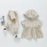 2021年韓国夏新作 男の子 女の子 子供服 ベビー服 縦縞 ドレス ボディスーツ ロンパース ドレス 帽子