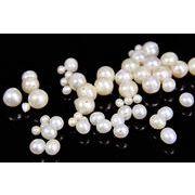 【コスパ最強*お勧め】天然淡水パール(丸型)真珠/ナチュラル真珠パーツ/トレンドパーツ