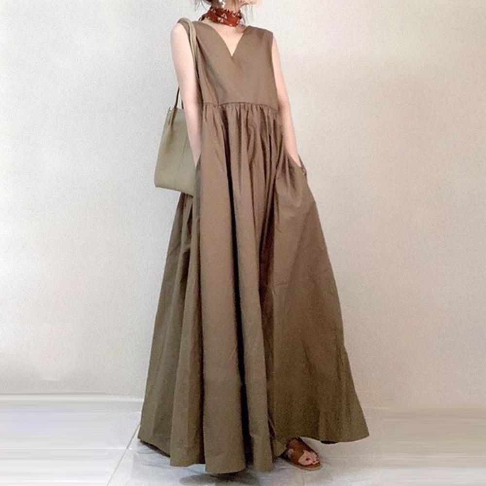 韓国ファッション 2021年春夏新作ノースリーブワンピース エレガント ポケット付き